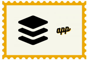 """Stamp with stacked illustration and title """"app"""""""