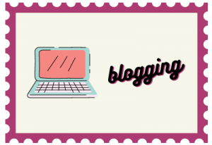 """Stamp with computer illustration and title """"blogging"""""""