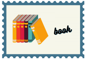 """Stamp with book illustration and title """"book"""""""