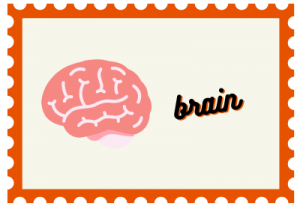 """Stamp with brain illustration and title """"brain"""""""