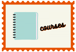 """Stamp with notebook illustration and title """"courses"""""""