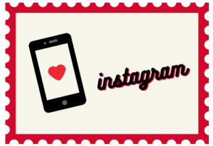 """Stamp with book illustration and title """"instagram"""""""