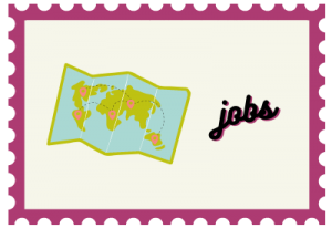 """Stamp with map illustration and title """"jobs"""""""