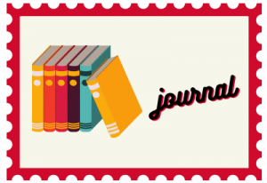 """Stamp with book illustration and title """"journal"""""""