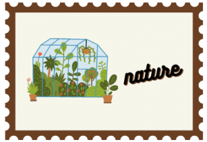 """Stamp with greenhouse illustration and title """"nature"""""""