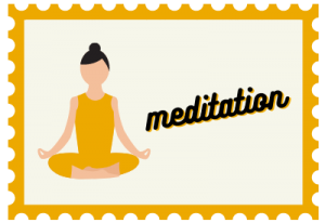"""Stamp with lady illustration and title """"meditation"""""""