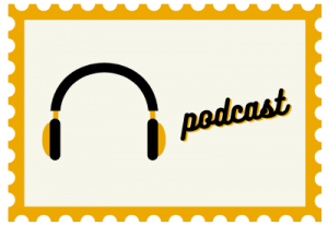 """Stamp with headphone illustration and title """"podcast"""""""