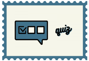 """Stamp with speech bubble illustration and title """"quiz"""""""