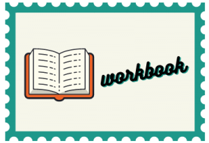 """Stamp with book illustration and title """"workbook"""""""