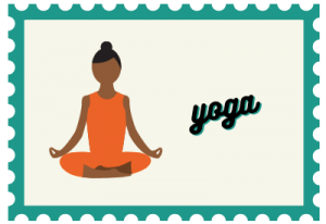 """Stamp with lady illustration and title """"yoga"""""""