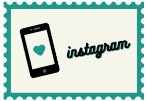 """Stamp with phone illustration and title """"instagram"""""""