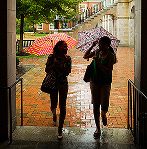 Student on campus with umbrellas