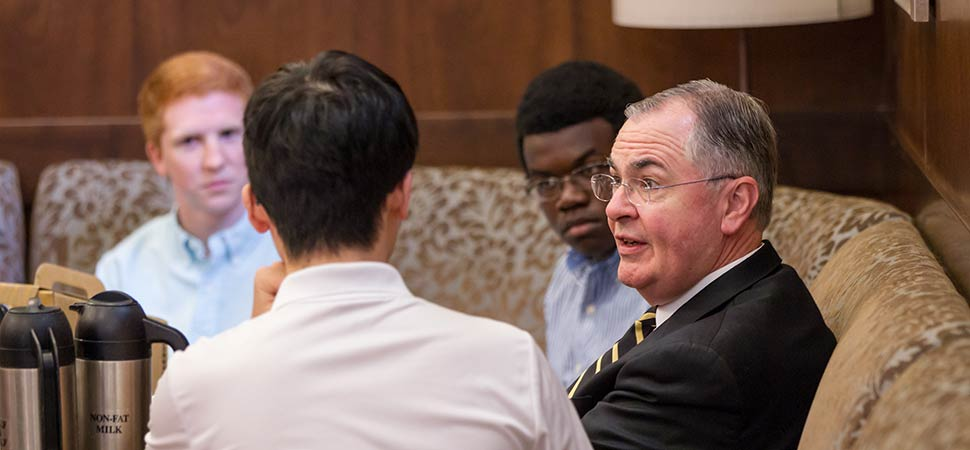 Dr. Hatch loves being around students and partaking in the energy of the University campus – from stealing the show at the President's Ball to challenging students in a three-on-three basketball tournament to hosting office hours for students to engaging in good conversations over coffee.
