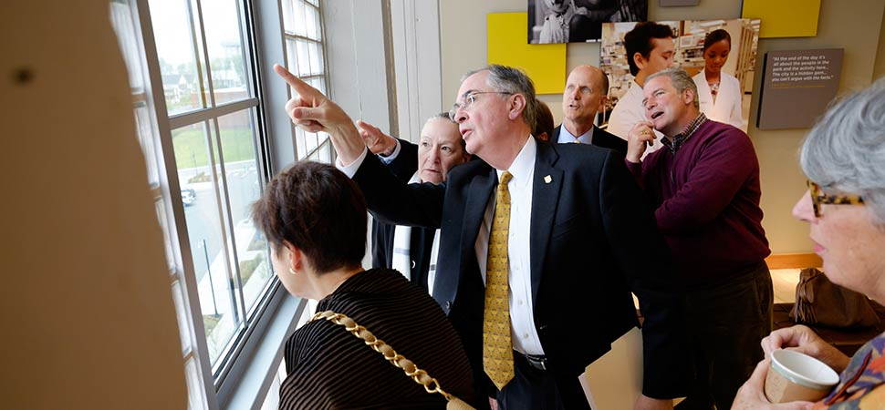 Dr. Hatch shows several members of the Board of Trustees new space in Wake Downtown, a new Wake Forest campus housed within Winston-Salem's Innovation Quarter.