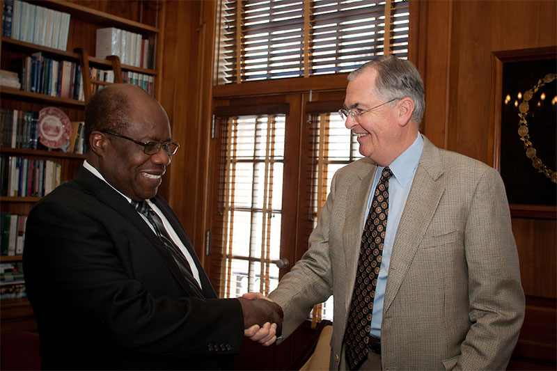 Wake Forest University President Nathan O. Hatch greets Dr. Ed Reynolds, the first student of color to attend Wake Forest in 1962, on Thursday, September 20, 2012.