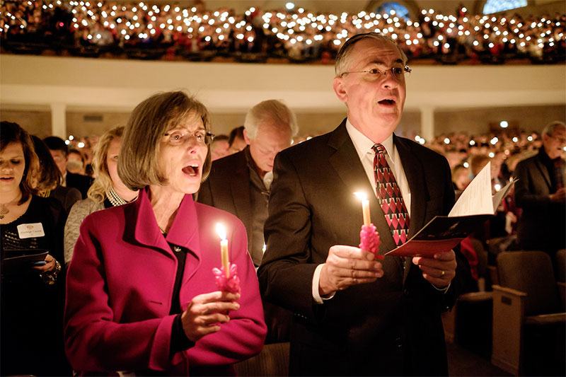 Wake Forest University hosts its 50th annual Lovefeast service in Wait Chapel on Sunday, December 7, 2014. President Nathan O. Hatch and his wife, Julie, attend the service.