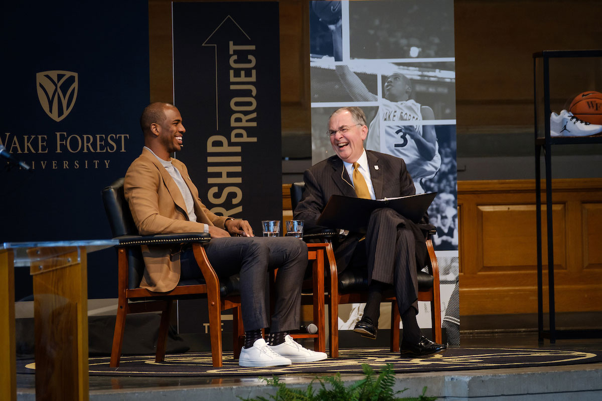 NBA basketball player Chris Paul visits Wake Forest, which he attended for two years, to talk about leadership as part of the Leadership Project with President Nathan O. Hatch, in Wait Chapel on Wednesday, September 13, 2017.