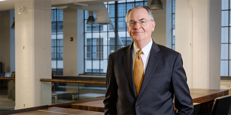 Wake Forest President Nathan O. Hatch poses for a portrait in the new Wake Downtown building