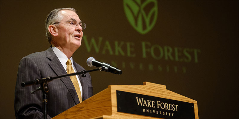 Wake Forest President Nathan O. Hatch gives his State of the University address in Brendle Recital Hall