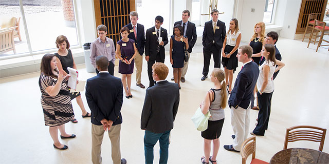 Wake Forest hosts a reception for new parents with President Nathan O. Hatch and hid wife, Julie, in the new Farrell Hall.