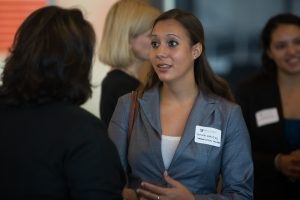 Student in networking conversation with an Wake Forest alumnus