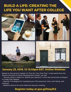 Build a Life Webinar - January 23 at 12 noon