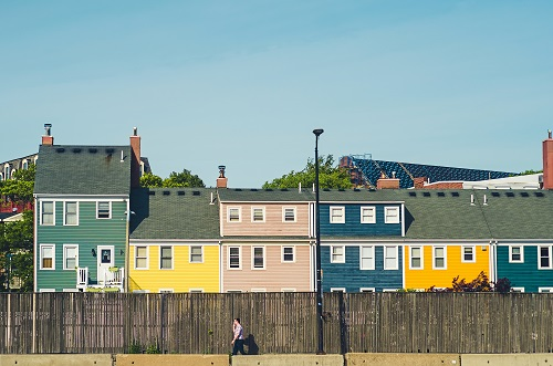 Row of colorful townhouses in Boston