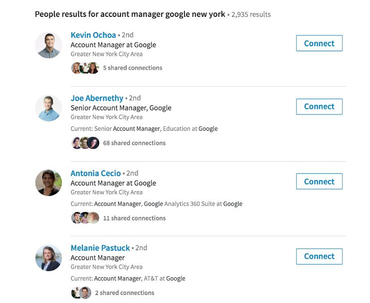 Screenshot of LinkedIn sample search results