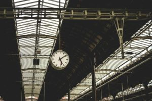 analog clock in train station