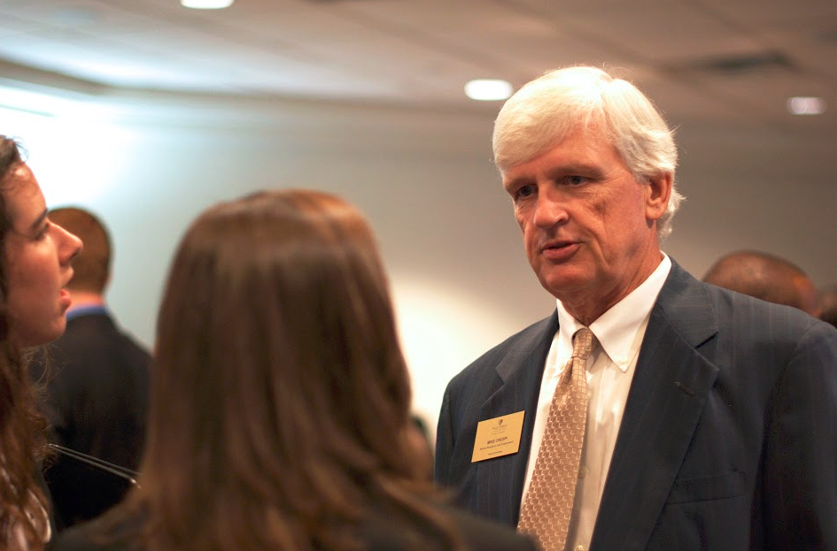 Career coach Mike Crespi talks with a student