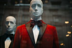 Mannequins wearing suits