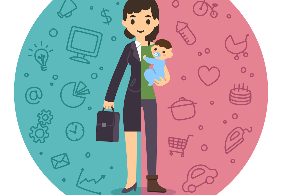 Woman in half business/work clothes and half in casual clothes holding a baby