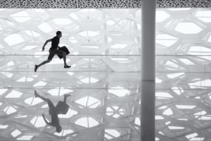 reflection of man running