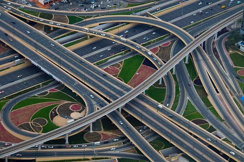 aerial shot of multiple highways crossing