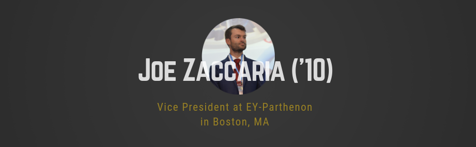 Joe Zaccaria ('10) headshot photo: Vice President at EY-Parthenon in Boston, MA