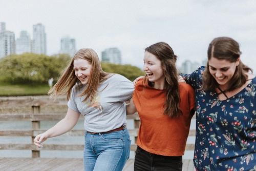 3 girls walking together