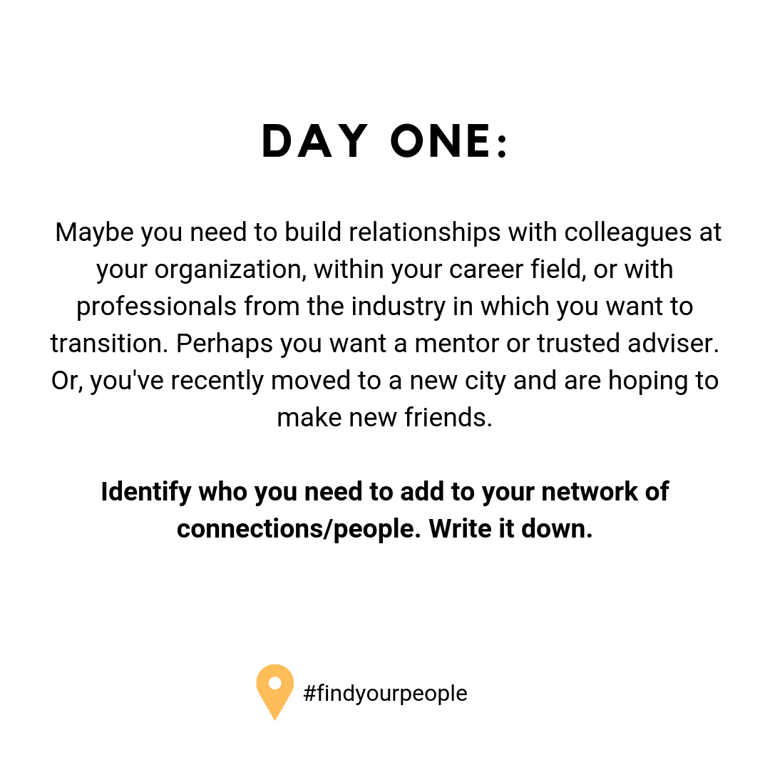 Day One: Maybe you need to build relationships with colleagues at your organization, within your career field, or with professionals from the industry in which you want to transition. Perhaps you want a mentor or trusted adviser. Or, you've recently moved to a new city and are hoping to make new friends. Identify who you need to add to your network of connections/people. Write it down.