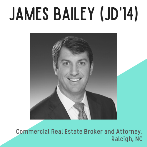 James Bailey headshot, text reads: commercial real estate broker and attorney, Raleigh, NC