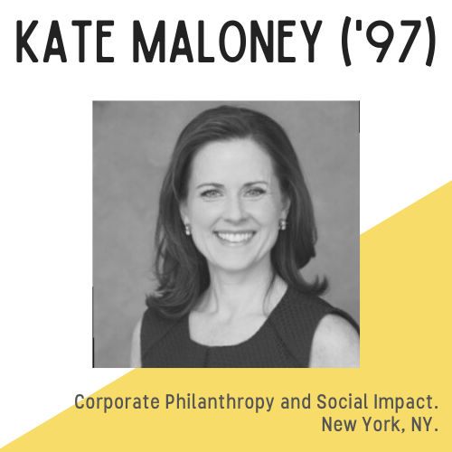 Kate Maloney headshot, text reads: corporate philanthropy and social impact, New York, NY