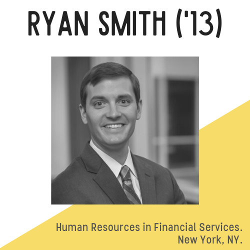 Ryan Smith headshot, text reads: human resources in financial services, New York NY