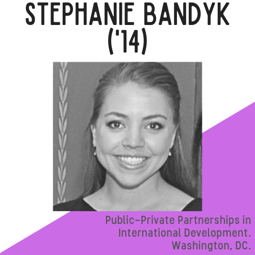 Stephanie Bandyk headshot, text reads: public-private partnerships in international development, washington dc