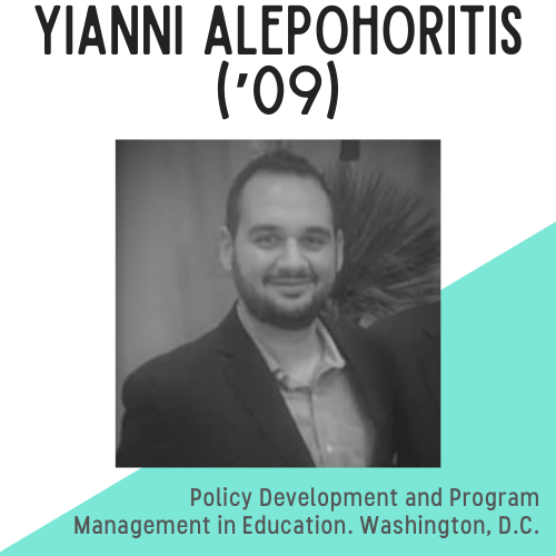 Yianni Alepohoritis headshot, text reads: policy development and program management in education, washington, dc