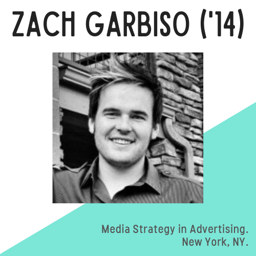 Zach Garbiso headshot, text reads: media strategy in advertising, New York, NY