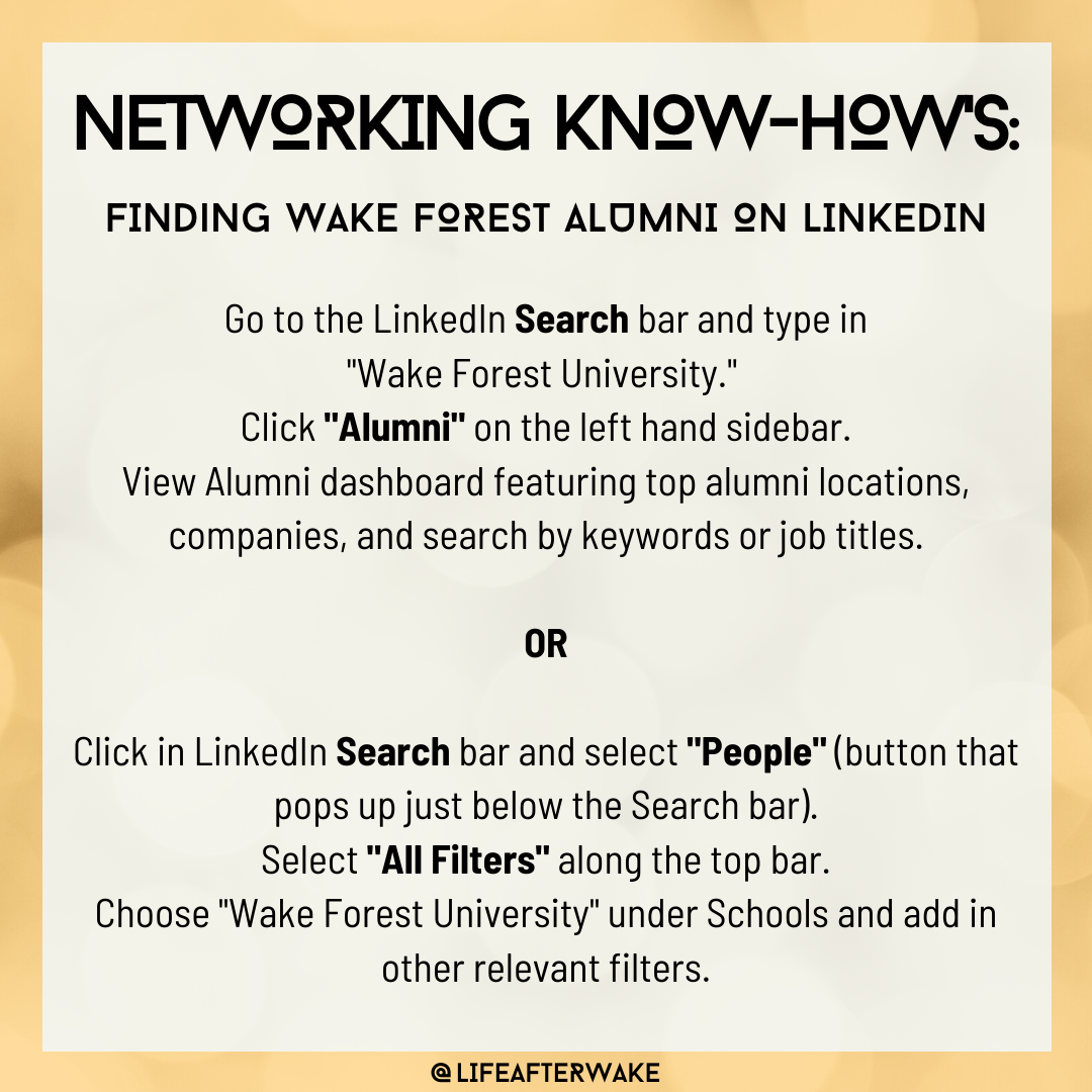 Networking Know-Hows: Finding Wake Forest Alumni on LinkedIn