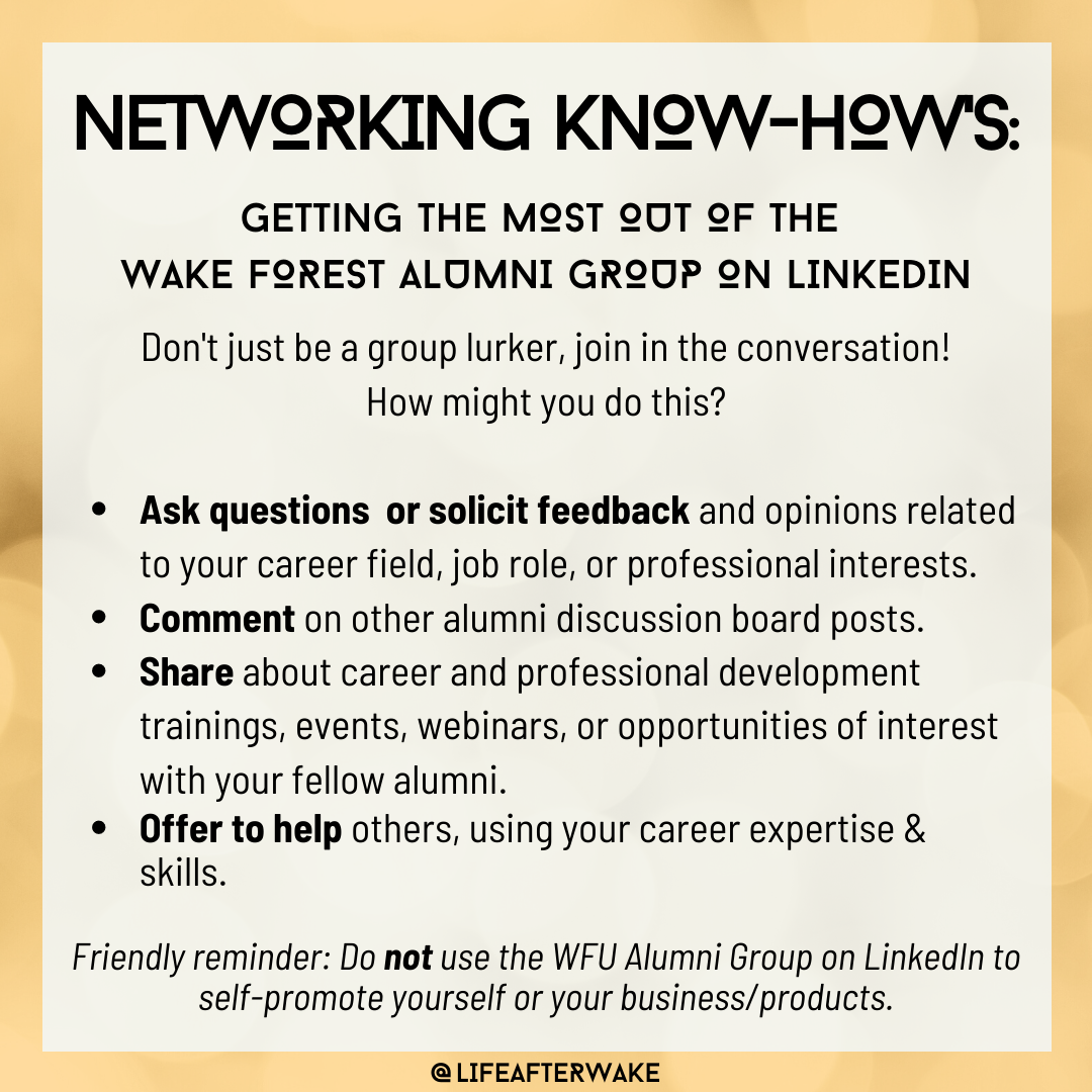 Networking Know-How's: Getting the Most Out of the Wake Forest Alumni Group on LinkedIn