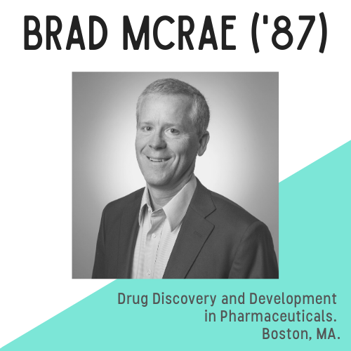 Headshot of Brad McRae with text that reads: drug discovery and development in pharmaceuticals. Boston, MA