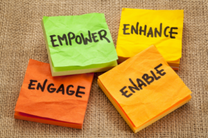 Four sticky notes with the words Empower, Engage, Enhance, and Enable written on them