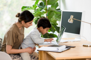 Woman holding child on her lap using computer