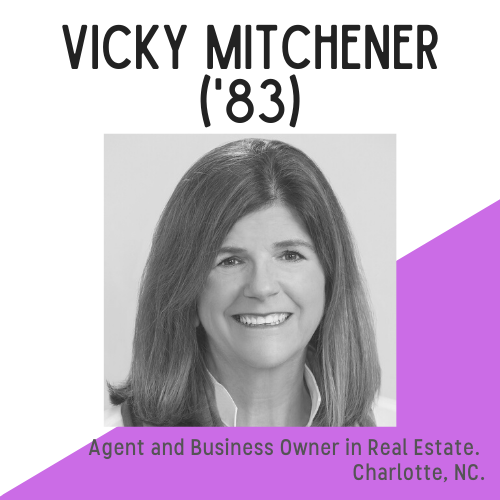 Headshot of Vicky Mitchener, with text that reads: Agent and business owner in real estate, Charlotte, NC.
