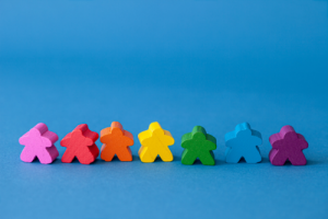 Clay people in colors of rainbow